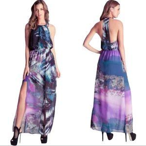 Bebe Sheer colorful maxi dress